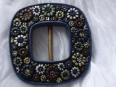 1930's 1940's Pressed Wood Blue Floral Buckle
